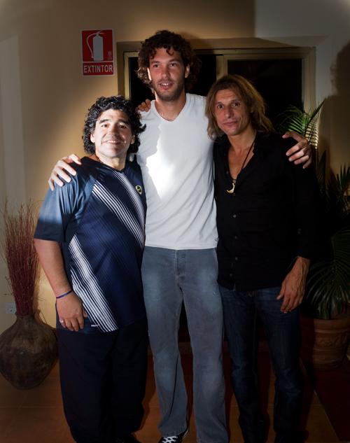 Diego Maradona, Chucho Acasuso and Claudio Caniggia
